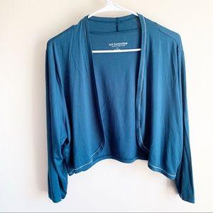 Soft Surroundings Teal Sparkle Trim Cardigan Top
